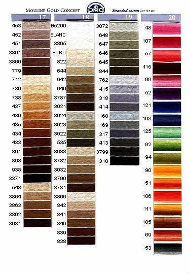 Нитки дмс таблица цветов по порядку с названием цвета