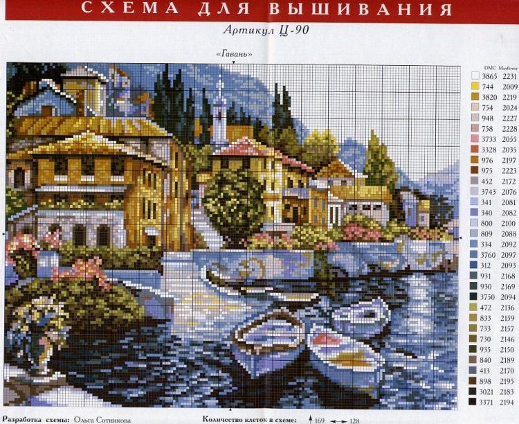 Схема для вышивки крестиком пейзажи