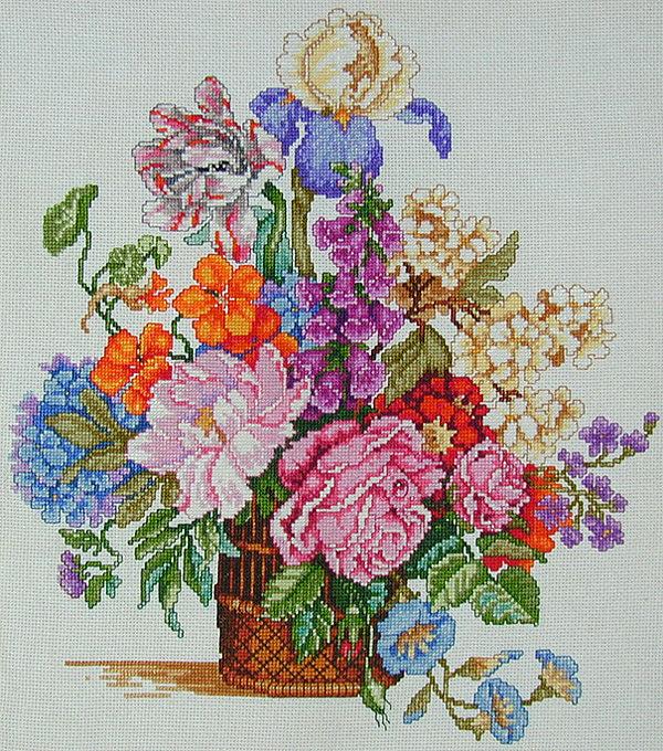 Вышивка крестом красивые цветы и букеты